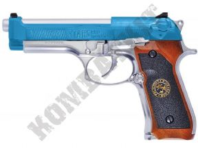 WE M9 Silver Airsoft Pistol | Samurai Edge Gas Blowback BB Gun 2 Tone Slide | KOMBATKIT